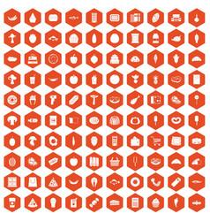 100 food shopping icons hexagon orange vector