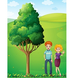 A couple at the hilltop standing near the tree vector