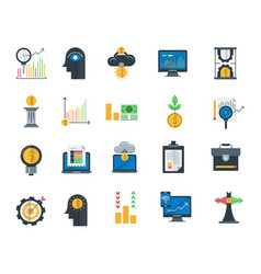 analytics and investment flat icons vector image