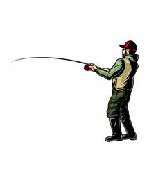 Angler holding fishing rod colorful concept vector