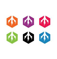 Animal claw logo template hexagon shape icon set vector