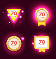anniversary 70 icons set vector image