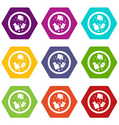 Asian sauce icon set color hexahedron vector