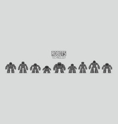 background of black different robots vector image