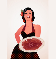 beautiful spanish cook showing a plate of iberian vector image