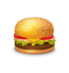 big hamburger sandwich on white background vector image