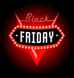 Black friday banner with retro neon lights vector