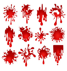Blood blots set vector