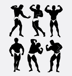 Body beautiful contest body building silhouette vector