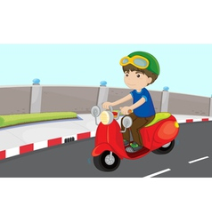 Boy on a scooter vector image