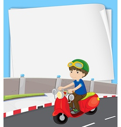 Boy on motorbike vector