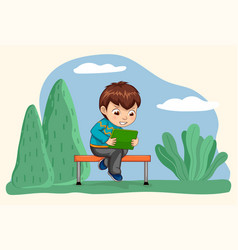 Boy playing games on gadget person hold tablet vector