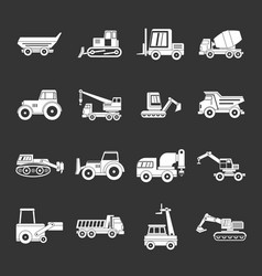 building vehicles icons set grey vector image