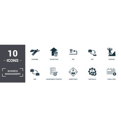 Business management icon set contain filled flat vector
