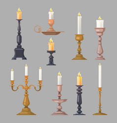 Candlesticks candle holders and candelabra lights vector