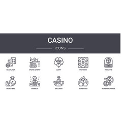 Casino concept line icons set contains icons vector