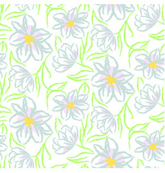 Chamomile flower hand drawn blue seamless vector