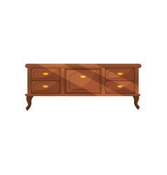 classic chest of drawers with golden handles vector image