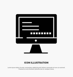 Computer monitor text education solid black glyph vector