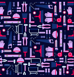 construction tools seamless pattern work vector image