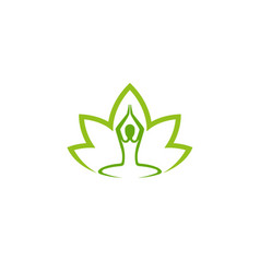 creative abstract body zen yoga lotus leaf logo vector image