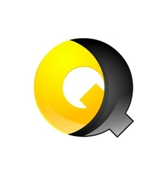 Creative yellow and black symbol letter Q for your vector image