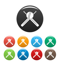 cricket ball and bats icons set color vector image