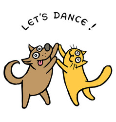 Cute dog and cat dancers vector