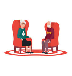 Cute grand parents seated in sofas avatars vector