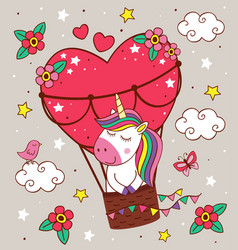 cute unicorn is flying in a balloon vector image