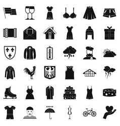 Different clothing icons set simple style vector