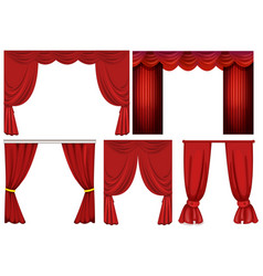 Different designs of red curtains vector