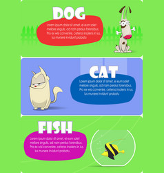 Dog cat and fish together vector
