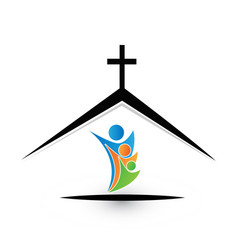 family in church icon logo vector image