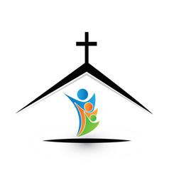 Family in church icon logo vector