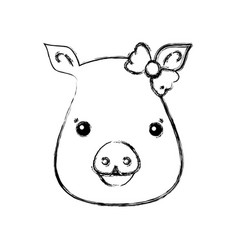 Figure cute pig female wild animal vector