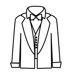 Figure sticker shirt with bow tie and coat icon vector