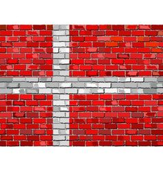 Flag of Denmark on a brick wall vector image