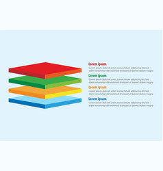 Four 3d square layers infographic template vector