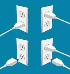 Four american abstract wall outlets with two vector