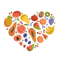fruits in heart shape set fruit icons forming vector image