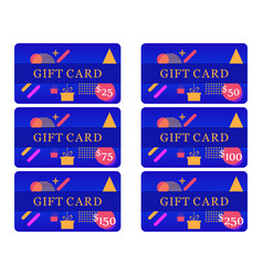 gift card memphis style with geometric shapes vector image