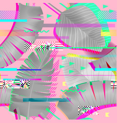 glitch effect seamless pattern tropical elements vector image