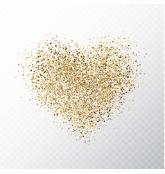 glitter golden hearts isolated on transparent vector image