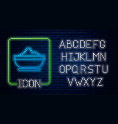 Glowing neon flour bowl icon isolated on brick vector