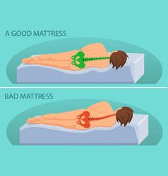 Good and bad mattress vector