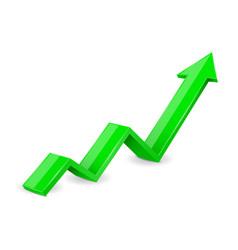 green arrow 3d up financial graph vector image