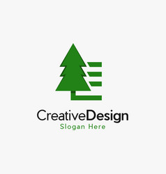 green tree pine nature business logo vector image
