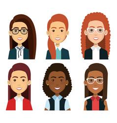 group of businesswoman teamwork vector image