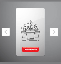 Growth money plant pot tree line icon in carousal vector